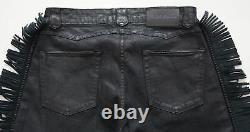 $1,295 Ralph Lauren Purple Label Slim Black Waxed Leather Fringed Denim Jeans