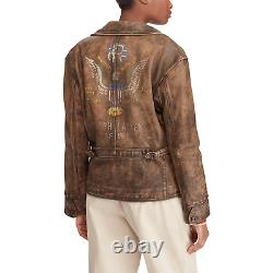 $1,298 Polo Ralph Lauren Distressed Painted Eagle USA Flag Leather Bomber Jacket