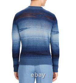 $1,495 Ralph Lauren Purple Label Italy Mens Blue Ombre Southwest Linen Sweater L
