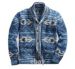 $1400 RRL Ralph Lauren Indigo Blue Shawl Southwestern Hand Knit Cardigan Large L