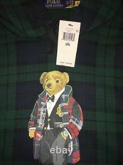 $188 NWT POLO RALPH LAUREN Mens XXL Plaid Duffel Bear Holiday Sweatshirt Hoodie