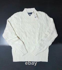$195 Polo Ralph Lauren Cotton-blend Navy-cricket Cable Knit Mens Sweater-(m)