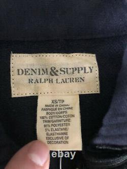 $198 New Denim & Supply Ralph Lauren Navy Blue Jacket RRL Band Military XS Polo