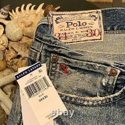 $198 Polo Ralph Lauren Sullivan Slim Men 34x30 Distressed & Patch Denim Jean Nwt