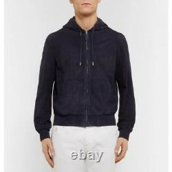 $2,595 Ralph Lauren Purple Label Mens Leather Suede Full Zip Anton Hoodie Jacket