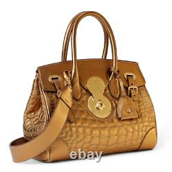 $2,950 Ralph Lauren Nappa Leather Metallic Gold Soft Ricky Cross Body Bag Tote