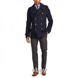 $2,995 Ralph Lauren Purple Label Warrington Navy Wool Peacoat Car Coat Jacket