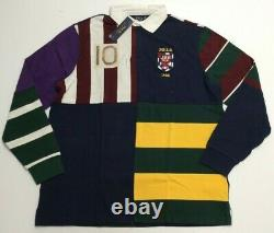 $248 Polo Ralph Lauren VTG Colorblocked Patchwork Rugby Royal Stadium Shirt King