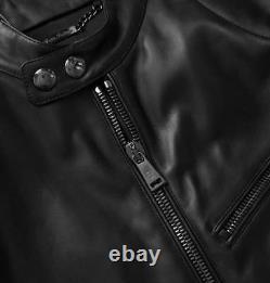 $3,495 Ralph Lauren Purple Label Randall Black Lambskin Leather Biker Jacket New
