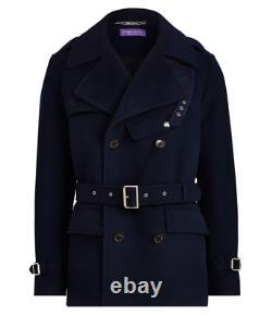 $3,995 Ralph Lauren Purple Label Melton Navy Wool Peacoat Trench Coat Jacket NWT
