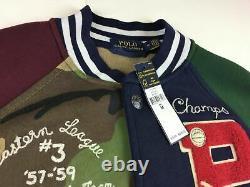 $348 Polo Ralph Lauren Tigers Military Camo Patchwork Letterman Baseball Jacket
