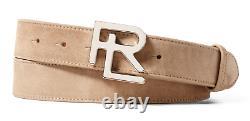 $395 Ralph Lauren Purple Label Mens Beige Suede Leather Silver RL Buckle Belt