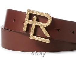 $395 Ralph Lauren Purple Label Mens Brown Vachetta Leather Gold RL Buckle Belt