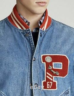 $398 Polo Ralph Lauren Men VTG USA P-Wing Letterman Varsity Baseball Jean Jacket