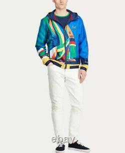 $628 Polo Ralph Lauren 1992 Water Repellent Sailing Graphic Jacket Windbreaker M