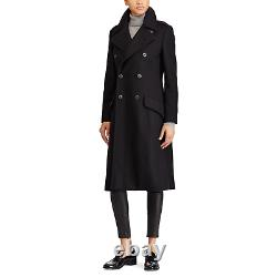 $698 Polo Ralph Lauren Womens Black Double Breasted Wool Trench Coat Jacket NWT