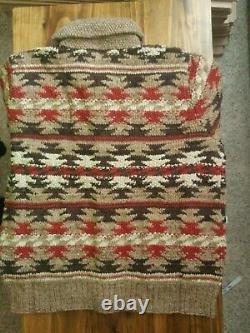 DOUBLE RL RRL Geometric Hand Knit Shawl Cardigan XL native Beacon Indian aztec