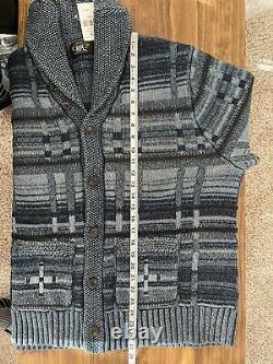 DOUBLE RL RRL Indigo Cotton-Blend Shawl Cardigan Sz XL native indian aztec