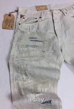 Denim Supply Ralph Lauren Hand Distressed Shredded Repaired Stitched Slim Jeans