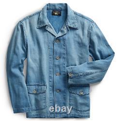 Double Ralph Lauren RRL Mens Indigo Dyed Herringbone Twill Cotton Linen Jacket