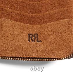 Double Ralph Lauren RRL Mens Roughout Leather Zip Brown Suede USA Ranch Wallet