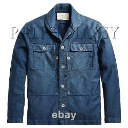 Double Ralph Lauren RRL Vintage Indigo Dyed Sateen Wheeler CPO Military Jacket