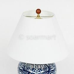 Lauren Ralph Lauren Porcelain Mandarin Blue & White Floral Ginger Jar Lamp New