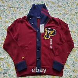 Mens Polo Ralph Lauren Pwing Varsity Letterman Cardigan Sweater Ltd Edition