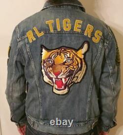 NEW Men's Polo Ralph Lauren TIGERS 1967 Varsity Tiger Trucker Denim Jacket NY