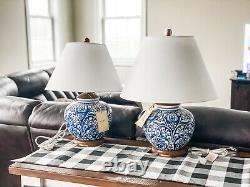 NEW PAIR (2) Ralph Lauren Blue White Floral Damask Porcelain Ceramic Lamp Shade