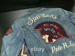 NEW Polo Ralph Lauren SPARTANS NYC 1959 Varsity Team Denim Jean Jacket PICK SIZE