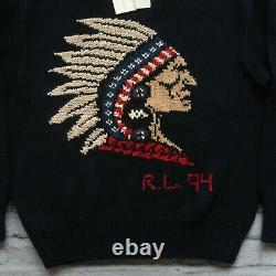 NEW Vintage Polo Ralph Lauren Hand Knit Indian Head Sweater Size XL Rare 1994 94