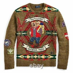 NWT MENS POLO RALPH LAUREN HIKING BEAR WOOL SWEATER With STITCHED PATCHES SIZE L