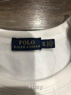 NWT POLO RALPH LAUREN BEAR CREWNECK SWEATER SWEATSHIRT DRESS SHIRT SZ XL White