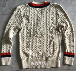 NWT POLO RALPH LAUREN Men's Shield-Patch Cable-Knit V-Neck Cricket Sweater Sm