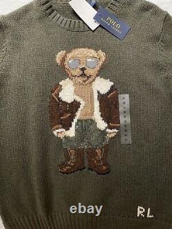 NWT Polo Ralph Lauren Bear Collection Women's Aviator Cotton Sweater Olive Green