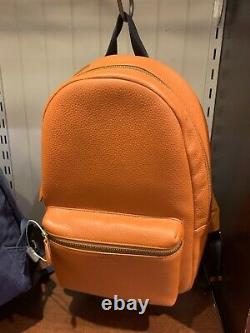 NWT Polo Ralph Lauren CAMEL Brown Tailored Pebble Leather Backpack Bag