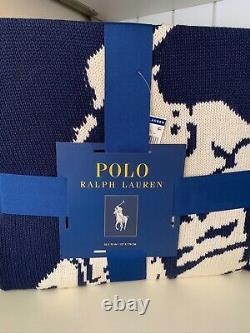 NWT Polo Ralph Lauren LARGE PONY NAVY BLUE & White KNIT 50x70 Throw Blanket