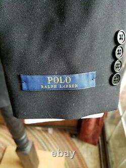 NWT Polo Ralph Lauren Tuxedo suit 38R slim fit flat front pants 32 w Italy