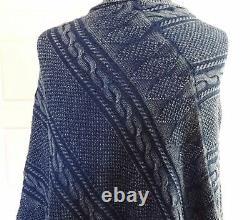 NWT Ralph Lauren Equestrian Shawl Indigo Cape Cable Knit Sweater Poncho Coat O/S