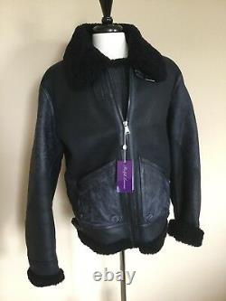 NWT Ralph Lauren Purple Label Navy Shearling Jacket XL Slim, made in Italy $4995