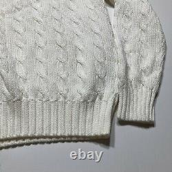 NWT Vintage Polo Ralph Lauren Tennis Sweater Small Navy Blu & White Cable Knit