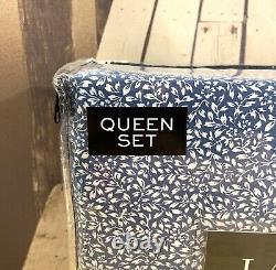 New Lauren Ralph Lauren Cotton 4 Piece Blue White Floral Sheet Set Queen RARE