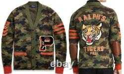 New POLO RALPH LAUREN The Iconic CAMO P-WING Letterman CARDIGAN SWEATER 2XL