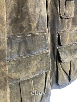 New Polo Ralph Lauren Large Brown Leather Hunting Jacket RRL Oil VTG Coat XL RLX