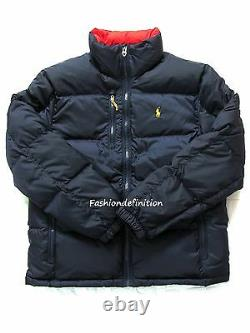 New Polo Ralph Lauren Men Winter Quilted Puffer Down Jacket Navy Blue NWT