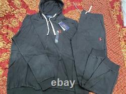New Polo Ralph Lauren Mens Blue Classic Fleece Hoodie Sweatpant Track Suit