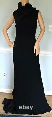 New Ralph Lauren Black Label Venezia Ruffle Long Dress Evening Gown IT 44 / US 8