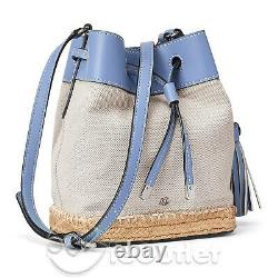 New Ralph Lauren Debby II Canvas Espadrille Drawstring Tassel Mini Crossbody Bag