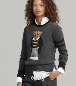 POLO RALPH LAUREN 50th Anniversary 100% WOOL Football Rugby BEAR Sweater LARGE